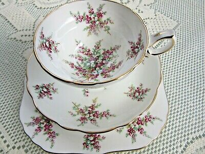 Hammersley England Trio Cup Saucer Plate Lily Of Valley And Purple Flowers