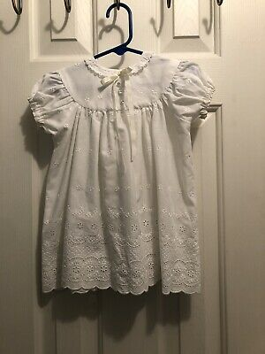 Vintage White Eyelet Lace Hand Made Dress Size 18-24 Months?