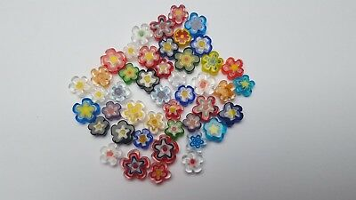 Mix of millefiori handmade flower shaped glass beads (for mosaics and lampwork)