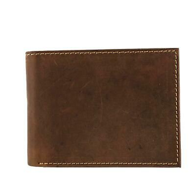 New CTM Men's Hunter Leather Distressed RFID Bifold Wallet with Interior Zipper