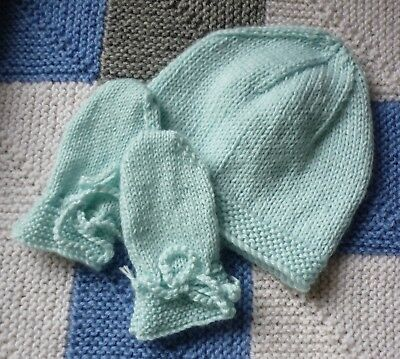 "Baby Beanie And Mittens. Hand-Knitted By Me. Pale ""mint"" Colour. Extra Soft."