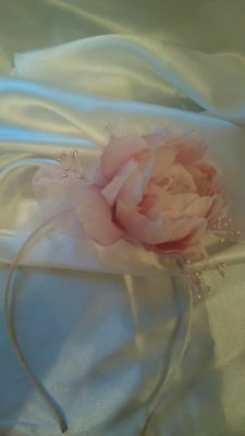 Stunning delicate pastel pink peony with pink pearls/headband