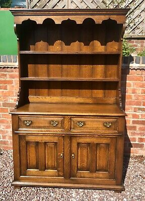 BATES AND LAMBOURNE Solid Oak Period Style Dresser Base with Rack