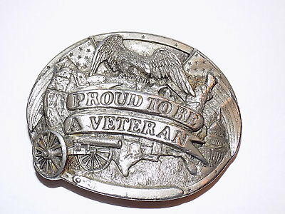 Vintage 'Proud To Be A Veteran' Belt Buckle (1983) Made in the USA! R-146