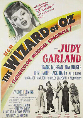 A4 Laminated The Wizard Of Oz Judy Garland Movie Posters Old Vintage Boxing Wall
