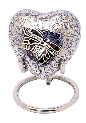 Small Cremation Urn For Ashes Blue Heart Token Memorial Keepsake urn Stand Box