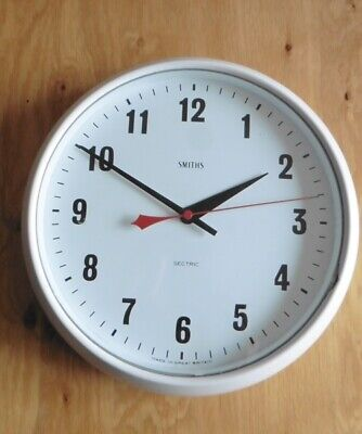 1960s SMITHS SECTRIC WHITE BAKELITE ELECTRIC OFFICE CLOCK MADE IN ENGLAND