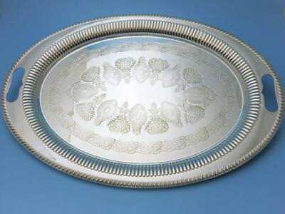 Tablett - 51 cm  - versilbert - Birmingham um 1920 - Thomas Woolley - Queen Anne