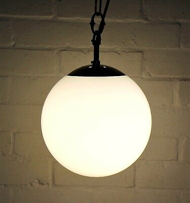 An Antique Opaque Glass Globe Church Ceiling Light with Monks Cap Gallery