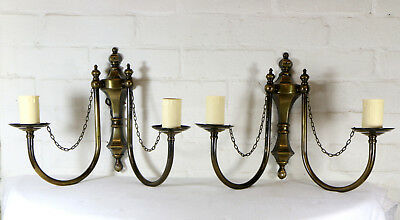 Pair Ornate Vintage Type Brass Pub Wall Lights Bronzed Antique Style Double Arm