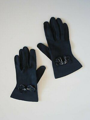 Vintage Gloves - Navy Blue and White Gloves With Bow Trim - 1940s - Medium