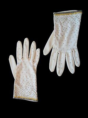Vintage Gloves - Short Beaded Gloves - Beige With Yellow & Silver Beads -  1960s