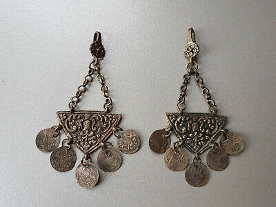 Gorgeous Antique Folklore EARRINGS 19th Ottoman Empire Lot ORIGINAL Silver Coins