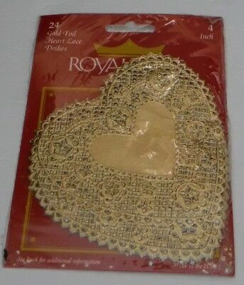"Vintage New Royal Gold Foil Heart Lace 4"" Doilies Package of 24 Made in USA"