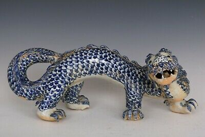 Chinese Beautiful Blue and White Porcelain Dragon Statue