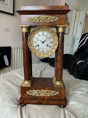 Antique French Portico Striking Mantel Clock