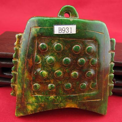 Jade bells   Chinese hand-carved green Pendant B931