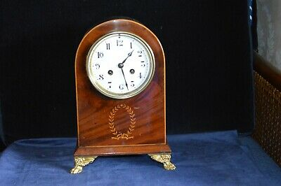 Antique Edwardian Mahogany Arched Top Mantle Clock with Inlay Striking - Working