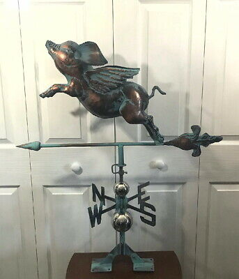 3D FLYING PIG Weathervane AGED COPPER PATINA FINISH Large & Handcrafted NEW