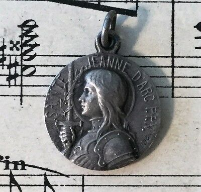 Medium Antique French Silver Plated Joan of Arc Medal Fleur de Lys c1920