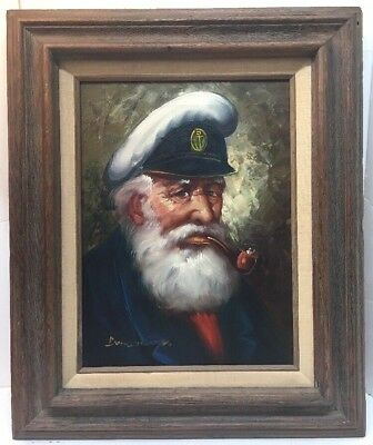 Vintage Old Sea Captain Oil on Canvas Painting Signed Bensoon? With Wood Frame