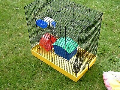3 Tier Hamster Cage with Tubes, Wheel, Feeding Tray, Sleeping Hut etc.