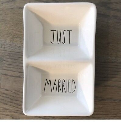 New Rae Dunn JUST MARRIED Divided Candy Dish Serving Tray Platter