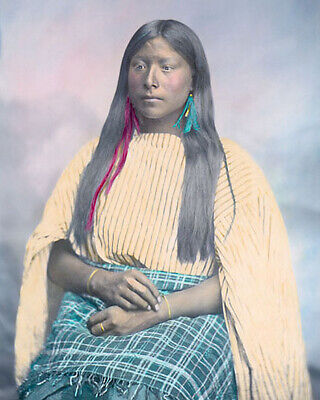 "COMANCHE WOMAN NATIVE AMERICAN INDIAN 1867 8x10"" HAND COLOR TINTED PHOTOGRAPH"