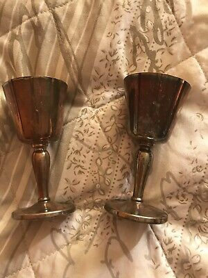 Set Of 2 Antique Silver Plate Wine Glass Cup Goblets