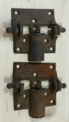 Antique Old pair of Cast Iron Barn Gate Door Spring Hinges Ornate