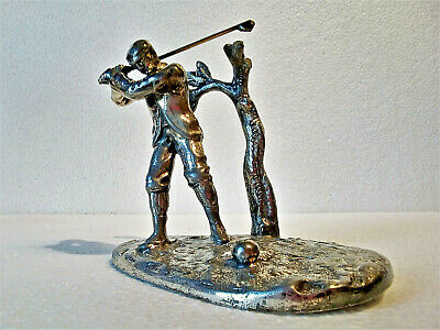 Silver plated brittania metal model of a golfer c1900