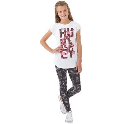 Girls Hurley Sublimation Leggings Size Xl 158-170Cm (13-15 Years) Black/ White