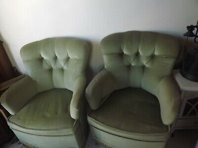 2X Green Velvet, Victorian Tub Chairs