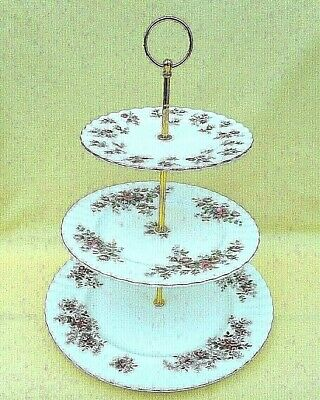 3 tier cake stand - mismatched Royal Albert - Lavender Rose, Winsome, Moss Rose