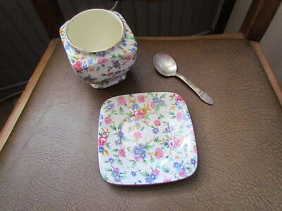 Vintage Royal Winton OLD COTTAGE CHINTZ Jam Jelly With Underplate & spoon
