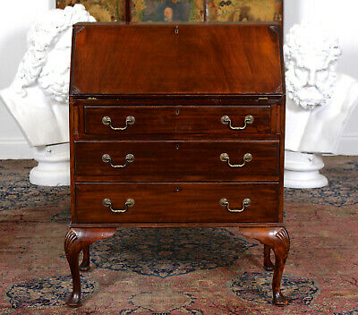 Antique Carved Mahogany Bureau Writing Desk Edwardian
