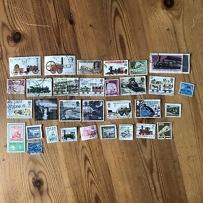 30 Trains Railway Rail Postage Stamps - Used All Different World