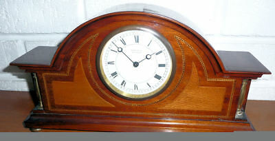 Vintage Inlaid Wood Swiss Key Wind Mantle Clock - Working - See 12 Pics + Video