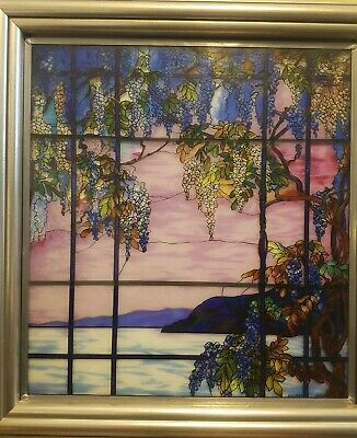 Vintage MMA Tiffany Stained Glass Window Panel View of Oyster Bay Framed