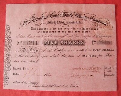 1854 Old Trewether Consolidated Mining Company Endellion Cornwall Share C. 1215