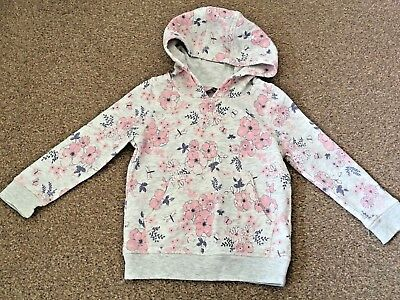 Girls George Grey Pink Floral Hooded Jumper Pullover Sweatshirt 2-3 Years B77