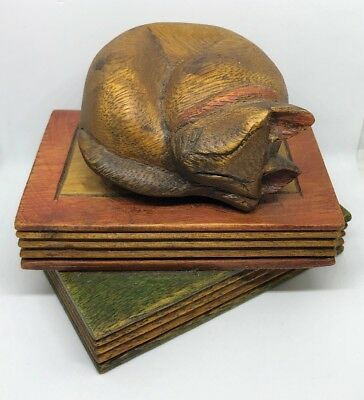 Wooden Cat Figurine Asleep On Books Paperweight Ornament