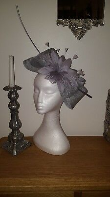 Silver/grey fascinator for wedding/races special occasion