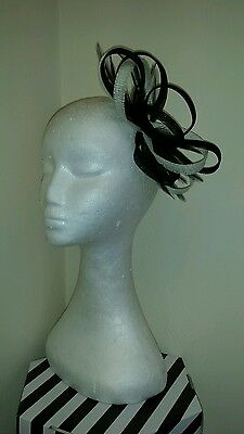 black and cream/ivory fascinator/hatinator weddings/special occasions/the races