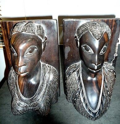 Vintage Large Pair African Hand Carved Wooden Bookends Man Lady Tribal Folk Art