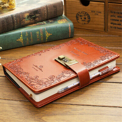 A5 PU Leather Cover Vintage Journal Notebook Lined Paper Diary Planner With Lock