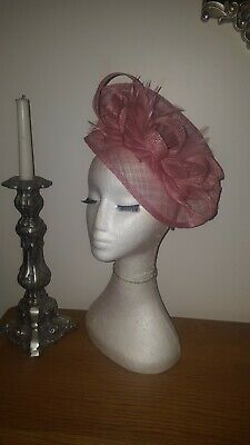 Dusky pink/light pink /rose pink fascinator wedding/races special occasion