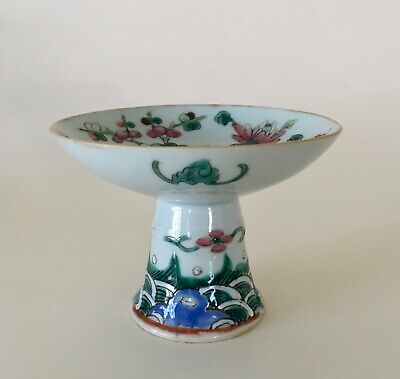 Antique Chinese porcelain stem cup famille rose / verte late 19th c. circa 1900
