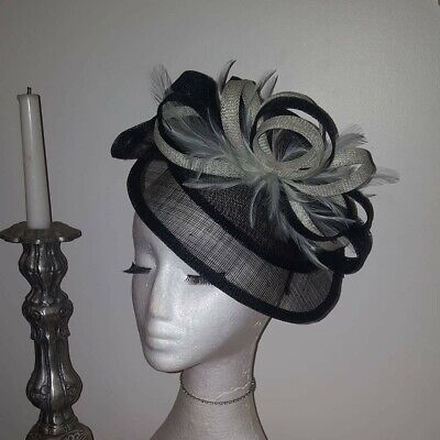 Mint Green and Black Fascinator/hatinator for weddings/ races special occasions
