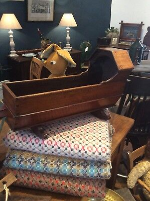 Lovely Victorian  Dolls Cradle Rocking Crib Top Quality Georgian Wooden